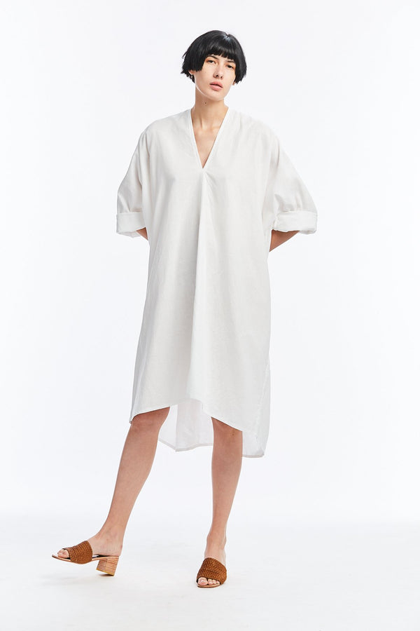 Muse Dress, Linen in White