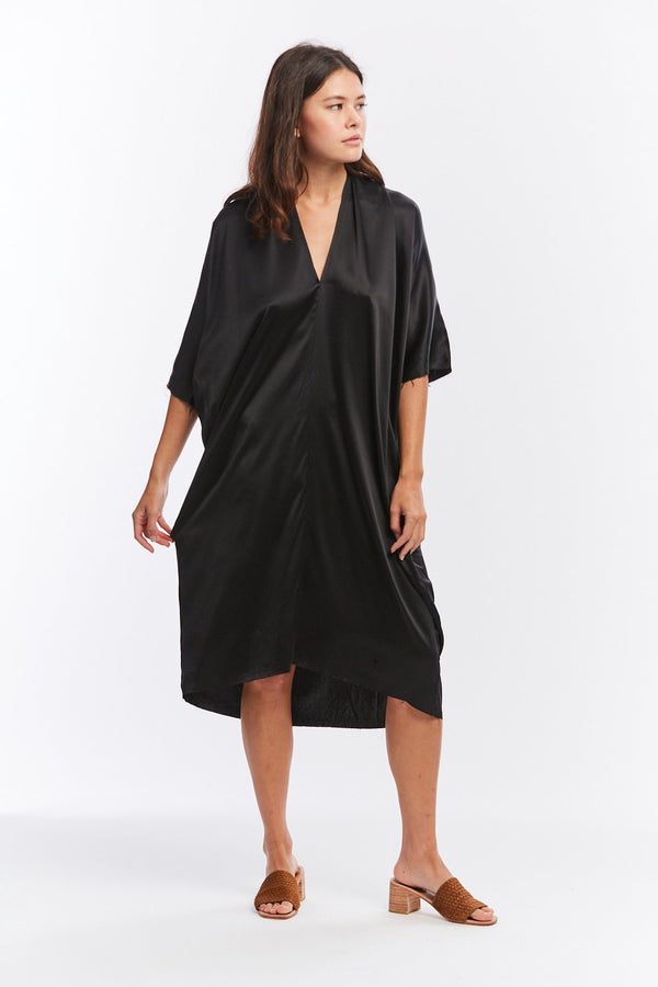 Muse Dress, Silk Charmeuse in Black