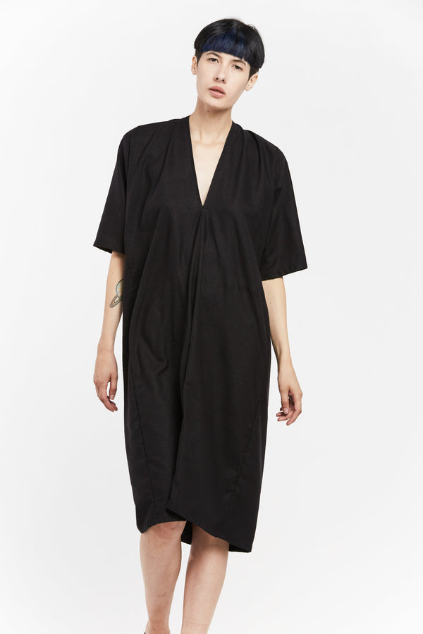 Muse Dress, Silk Noil in Black