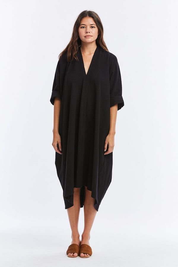 Muse Dress, Textured Cotton in Black