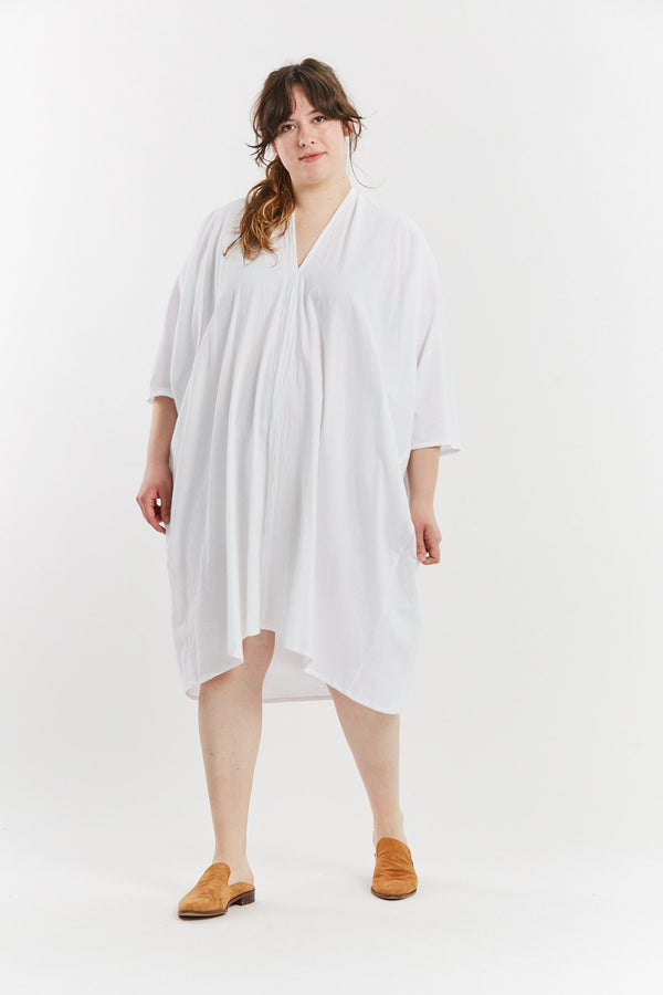 Muse Dress, Textured Cotton in White