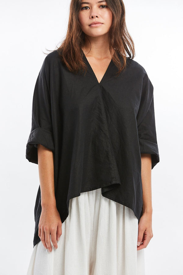 Petite Muse Top, Cotton Linen in Black