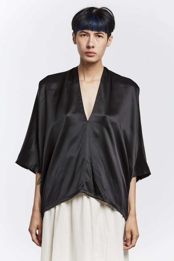 Petite Muse Top, Silk Charmeuse in Black FINAL SALE