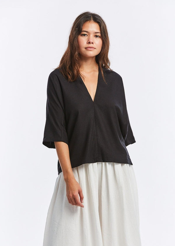 Muse Top, Silk Noil in Black