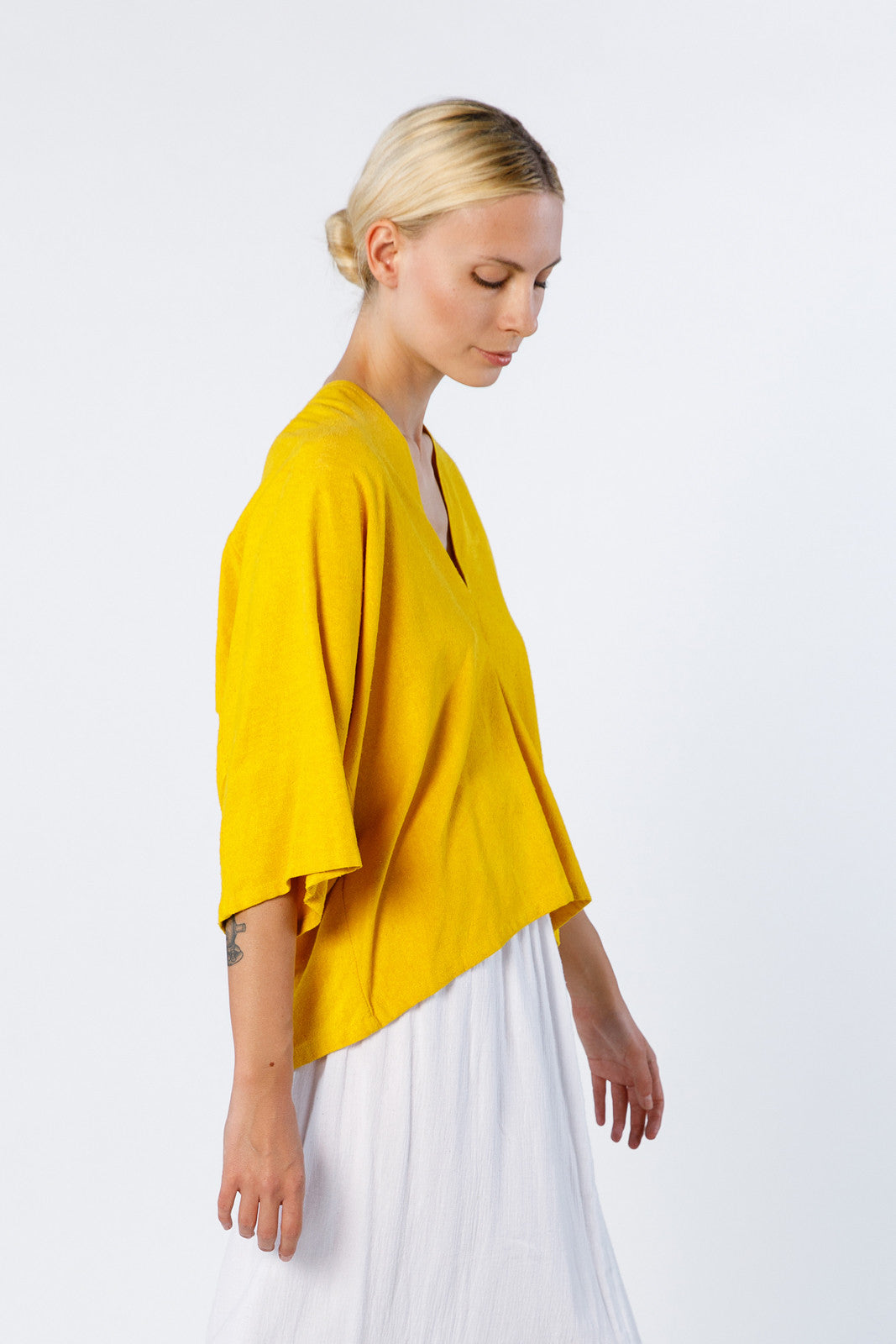 Muse Top, Silk Noil in Marigold