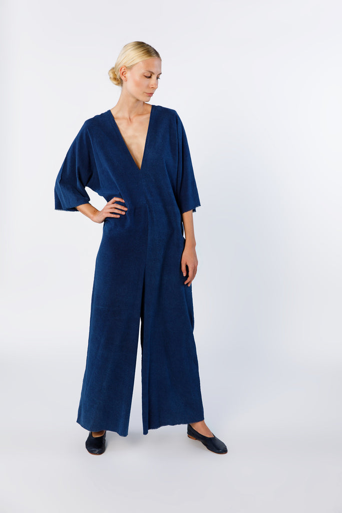 Muse Jumpsuit, Silk Noil in Dark Indigo