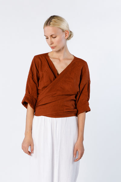 Wrap Top, Linen in Marfa