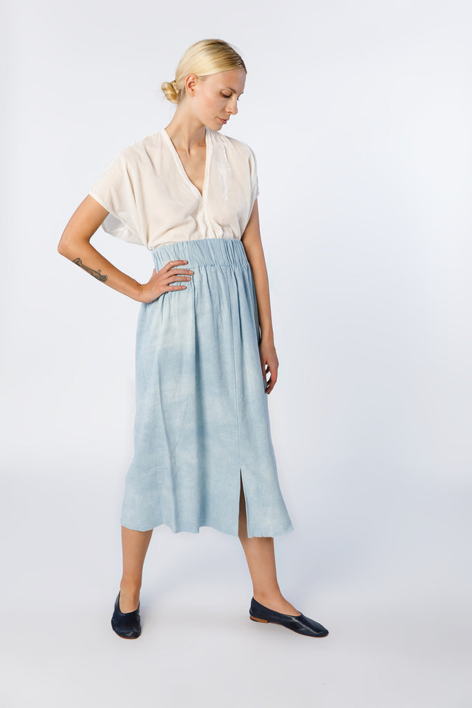 Paper Bag Skirt, Silk Noil in Light Indigo