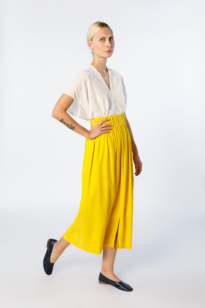 Paper Bag Skirt, Silk Noil in Marigold