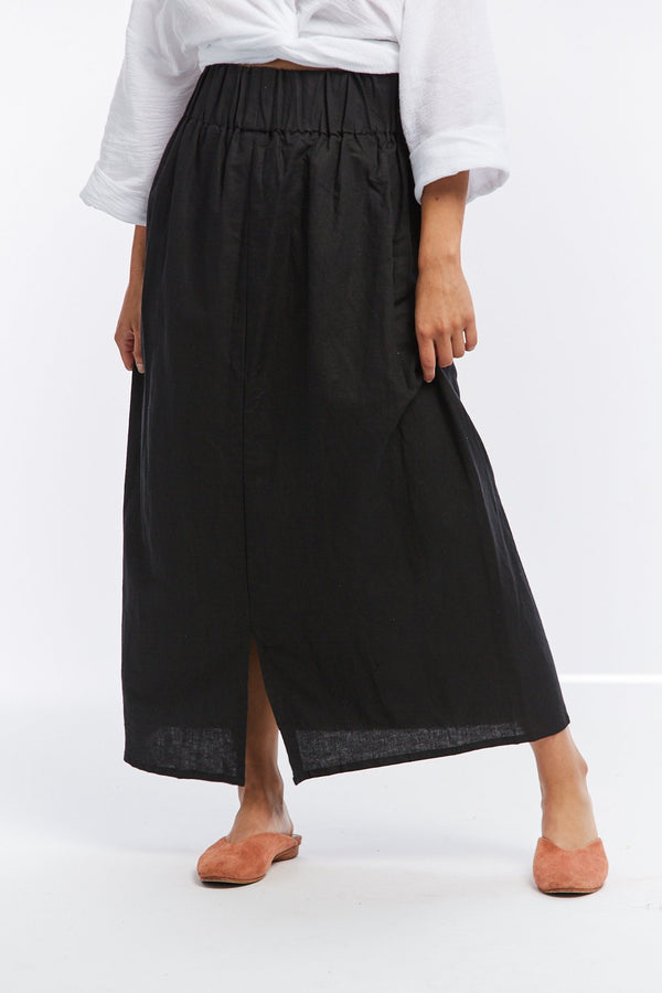 Paper Bag Skirt, Linen in Black