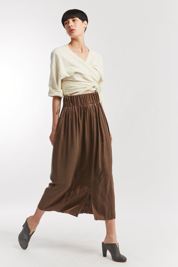 Paper Bag Skirt, Silk Charmeuse in Badlands