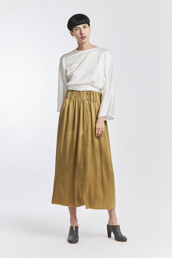 Paper Bag Skirt, Silk Charmeuse in Nile