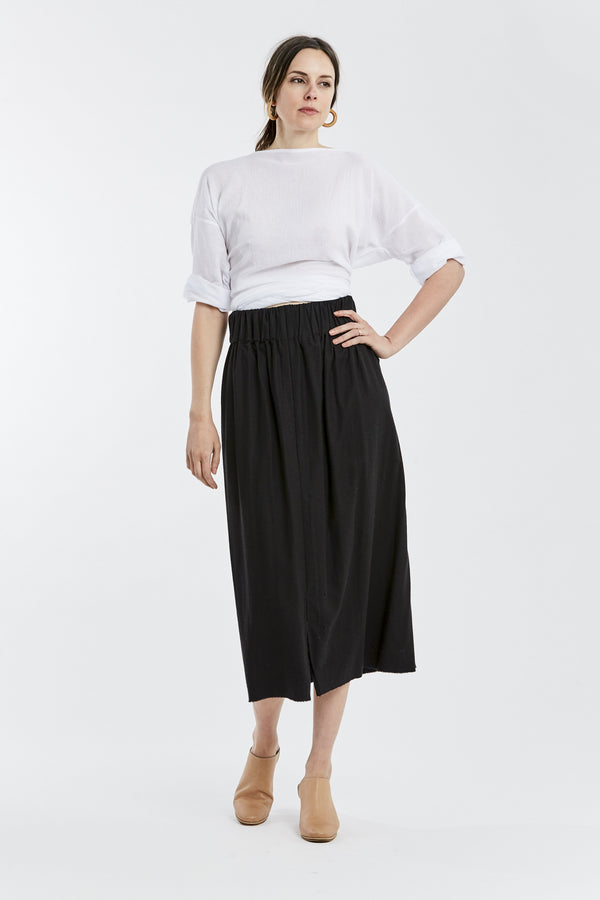Paper Bag Skirt, Silk Noil in Black