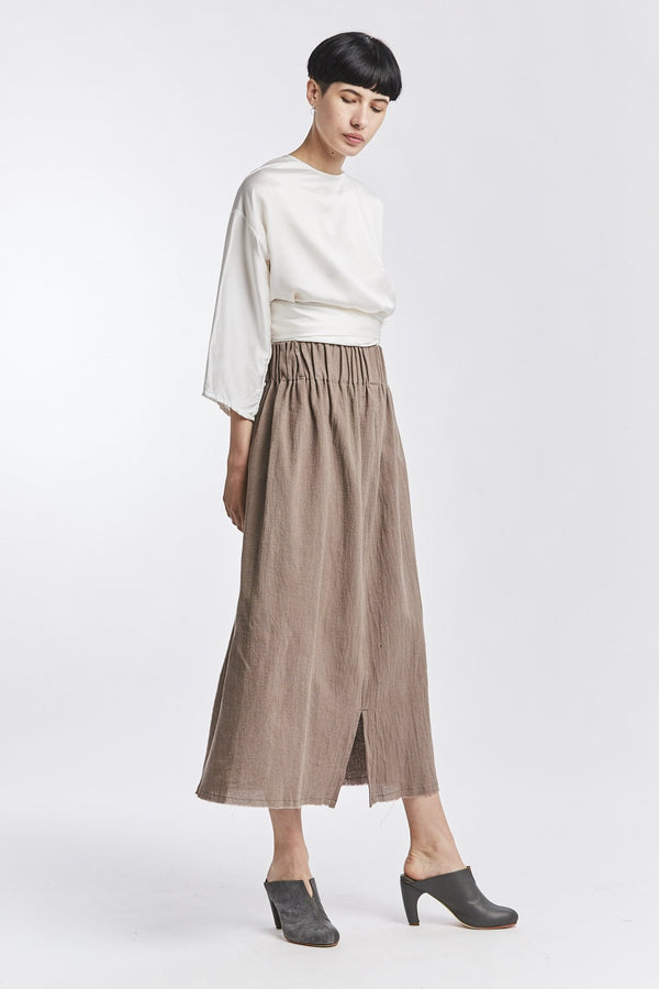 Paper Bag Skirt, Textured Cotton in Faroe