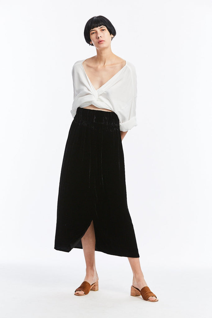 Paper Bag Skirt, Velvet in Black FINAL SALE