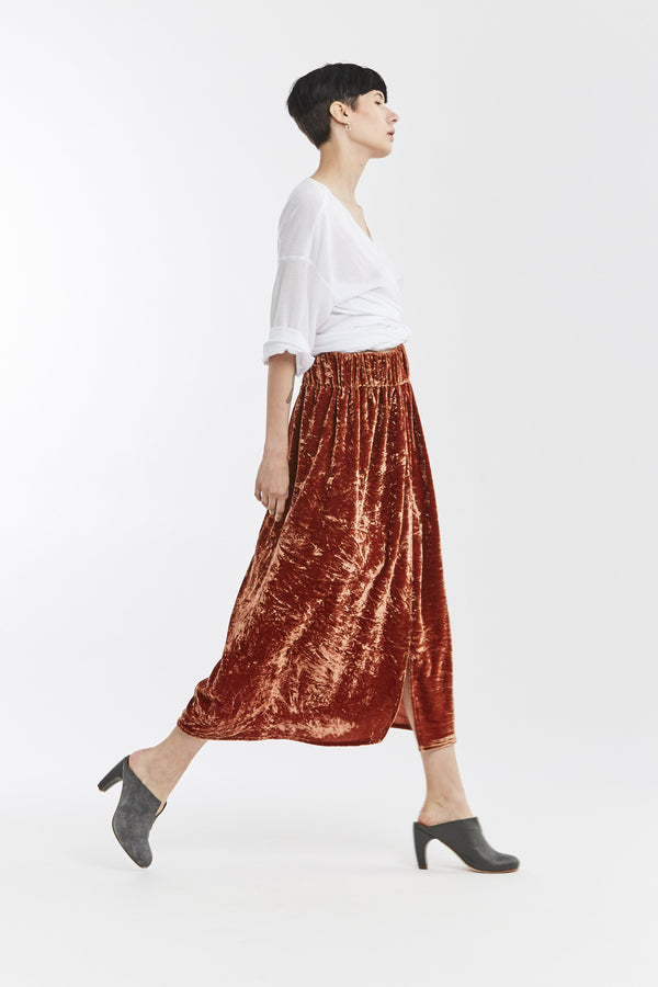 Paper Bag Skirt, Velvet in Quintana