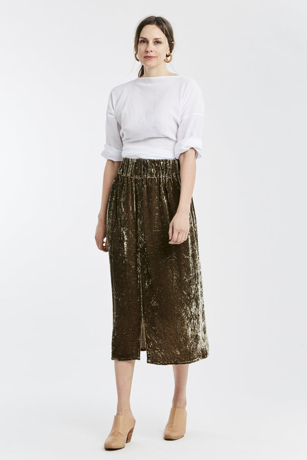 Paper Bag Skirt, Velvet in Shetland  FINAL SALE