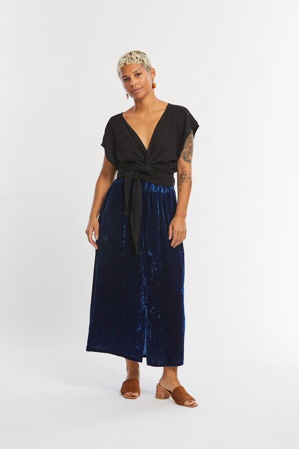 Paper Bag Skirt, Velvet in Indigo