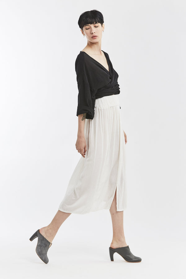 Paper Bag Skirt, Velvet in White