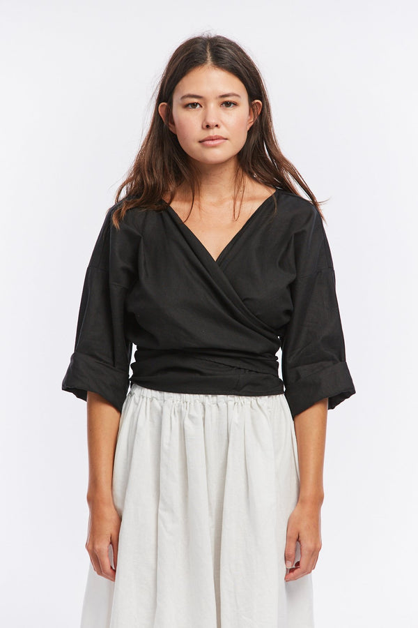 Wrap Top, Cotton Linen in Black