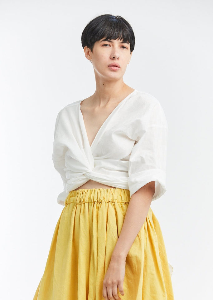 Wrap Top, Linen in White