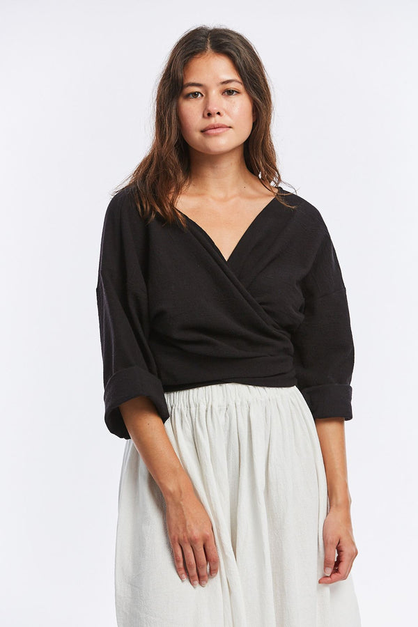 Wrap Top, Textured Cotton in Black
