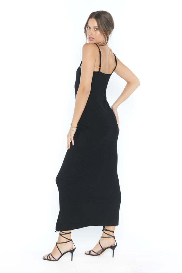 Carter Dress (Black Ribbed)