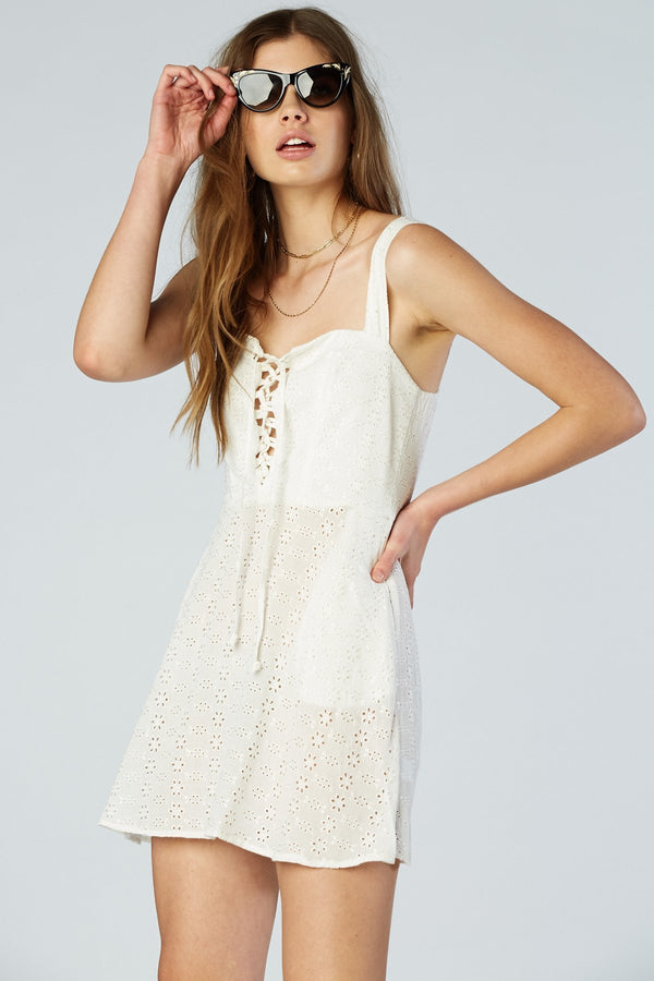 Leila Lace Up Mini - Cream Eyelet - Flynn Skye