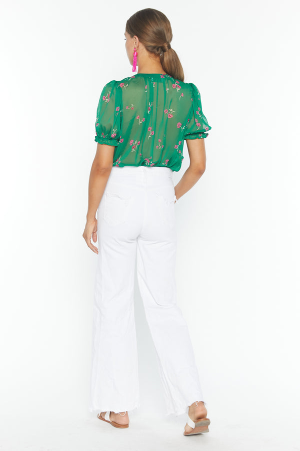 Mei Blouse (Emerald Delight Chiffon)