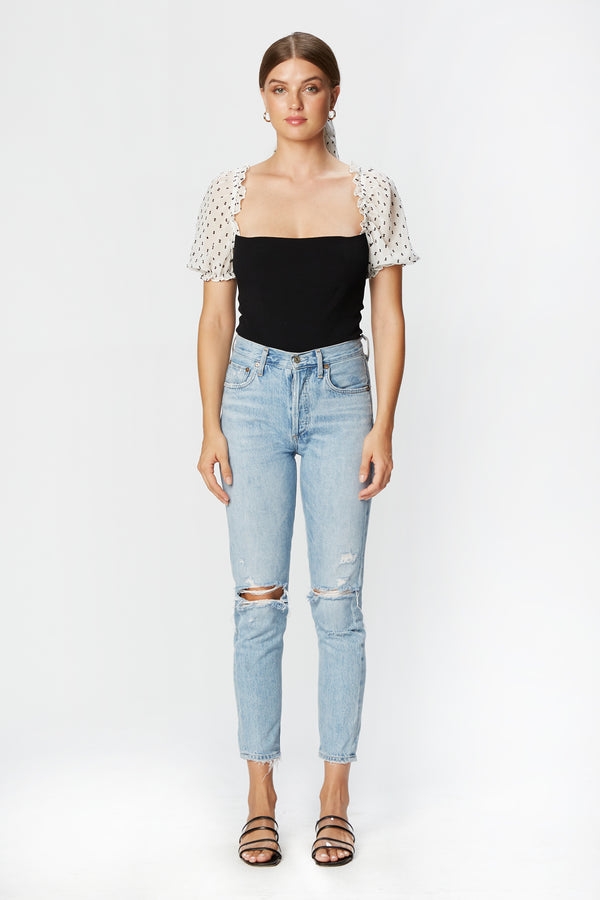 Miley Top (Black Swiss Dot Chiffon)