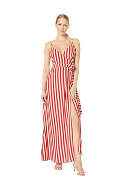 Model in red striped wrap maxi dress