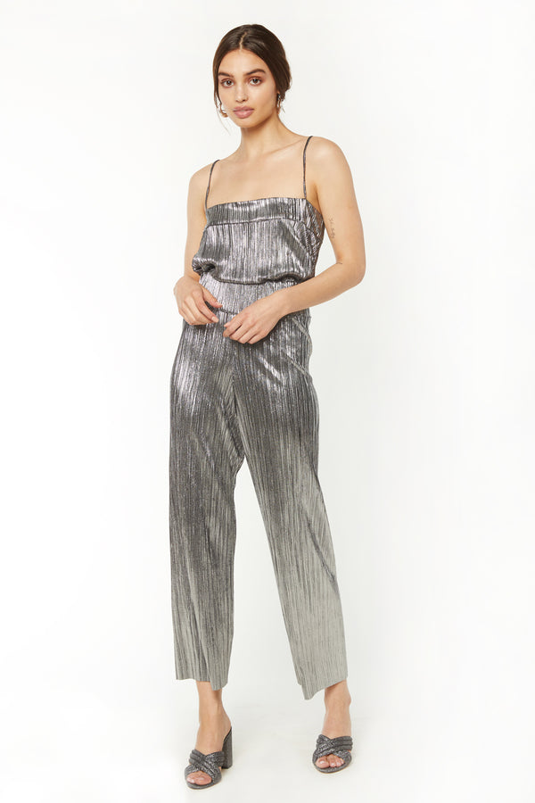 Cindy Crop - Gunmetal Lame