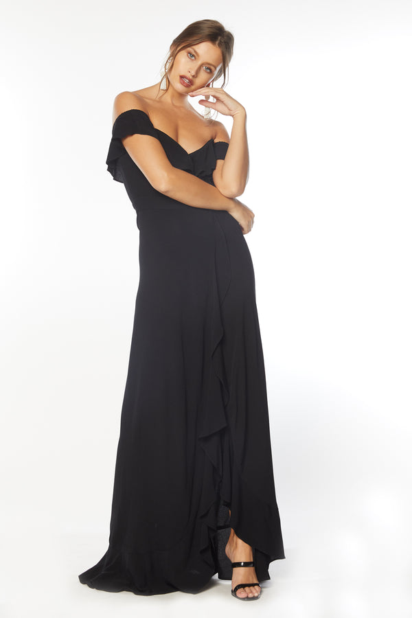 Monica Maxi Dress - Black Rayon