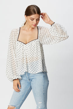 Janelle Blouse (Black Swiss Dot Chiffon)