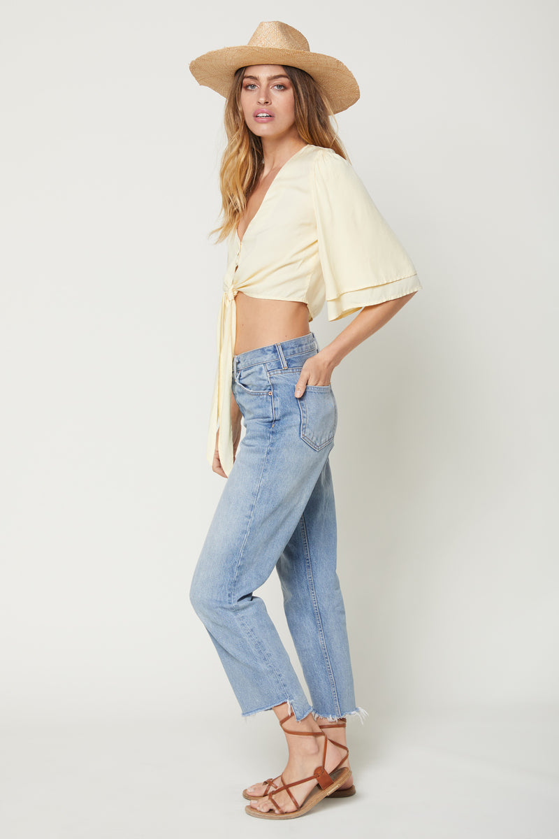 Lilly Top (Butter Yellow Shirting)