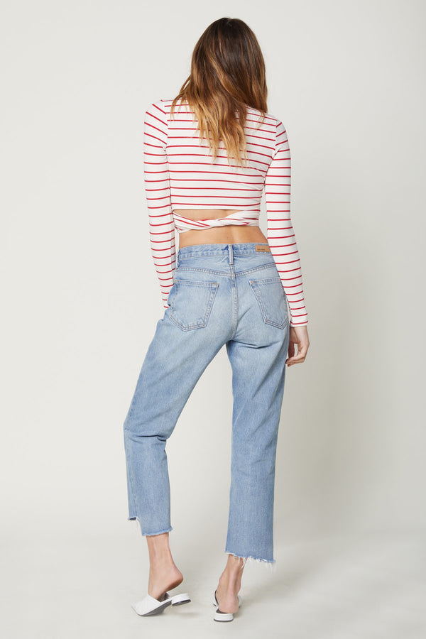 Long Sleeve That's A Wrap Crop Top (Red Stripe Rib)