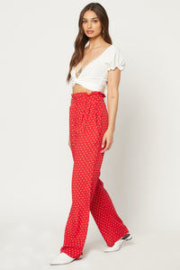 Ruffle Pant - Cherry Dot