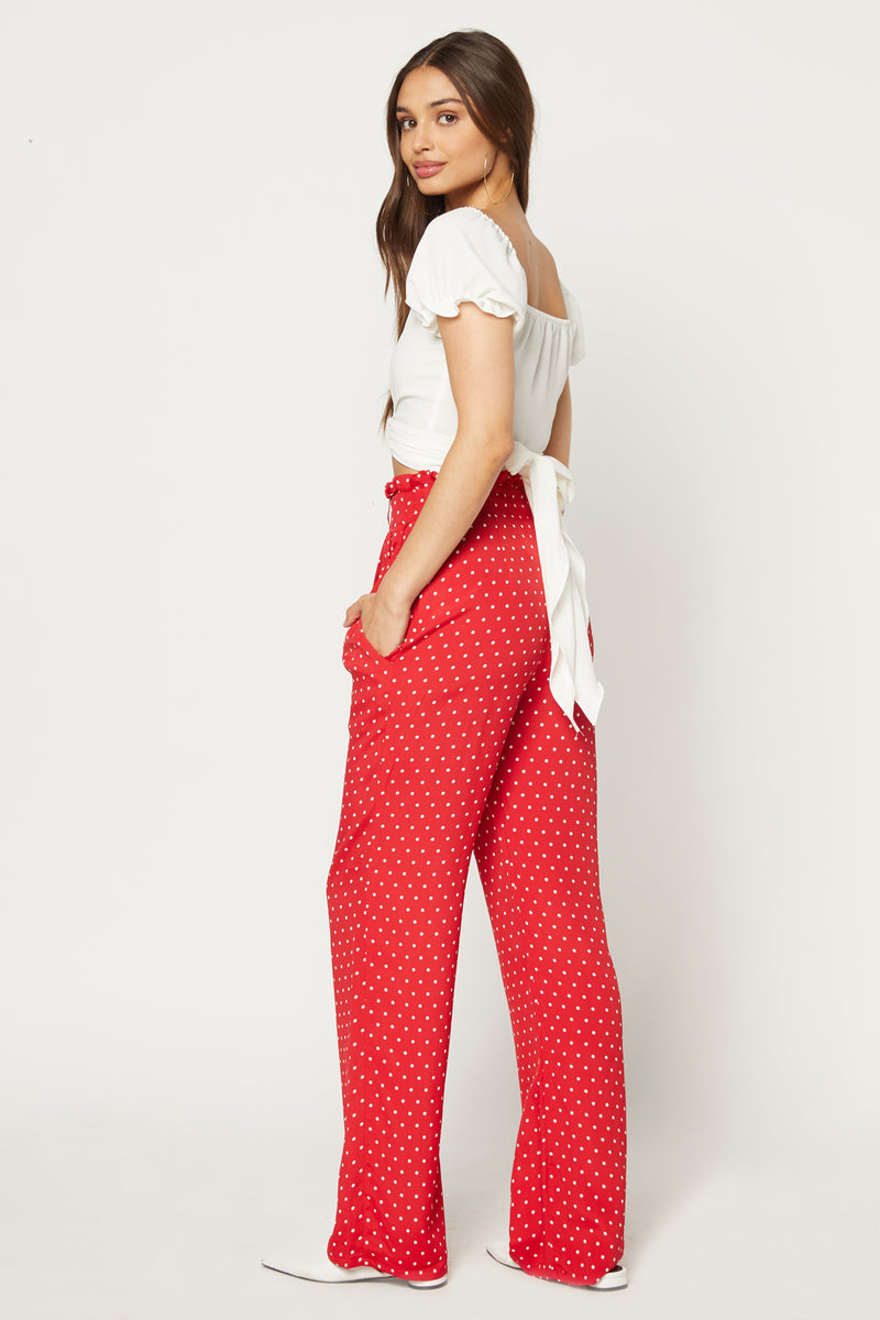 Ruffle Pant (Cherry Dot)