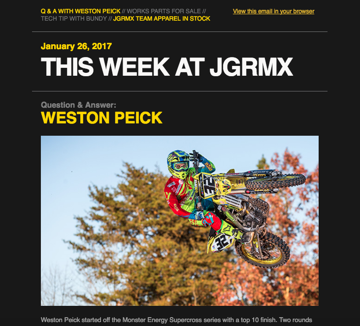 This Week at JGRMX - Weston Peick Interview & Pre-Ride Checklist (1/27/17)