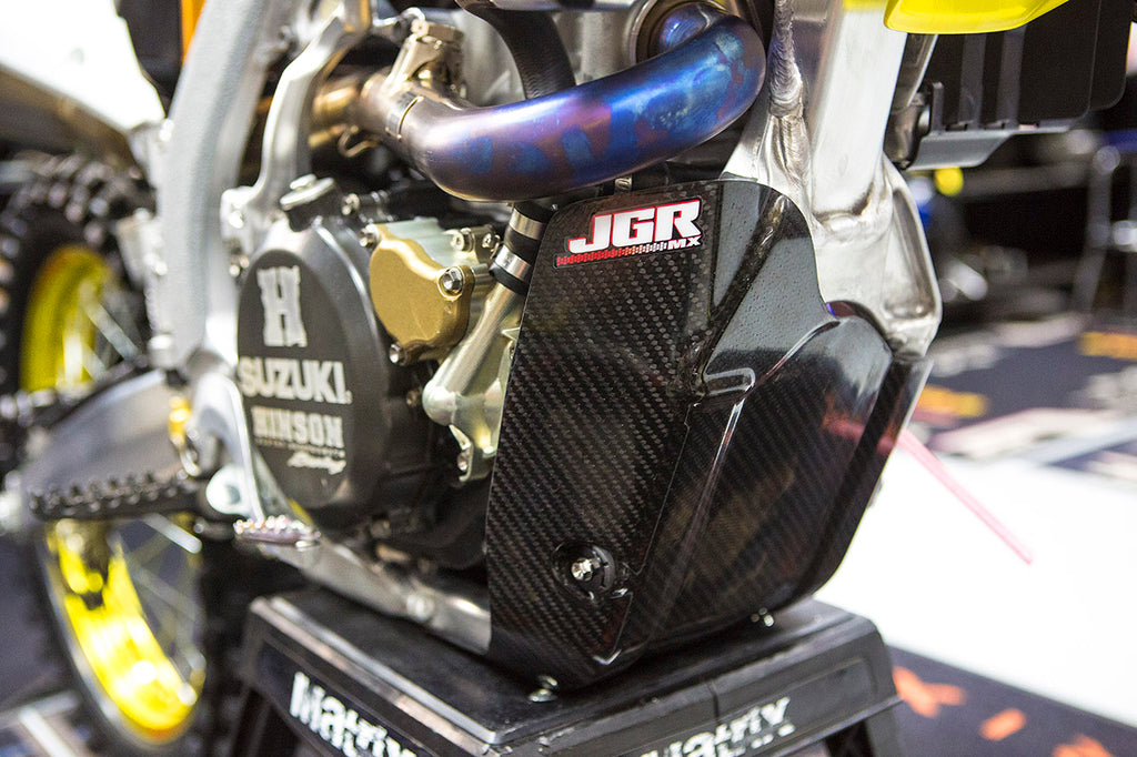 2018 Suzuki RM-Z450 Carbon Fiber Skid Plate on bike left side