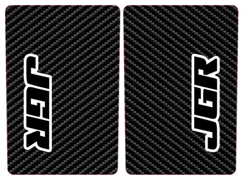 JGRMX fork wrap stickers, black with white outline