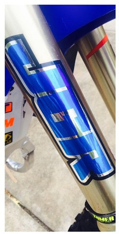 JGRMX chrome blue fork wrap stickers on bike