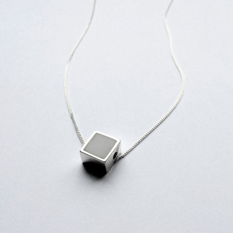 Mini Two Faced Square Pendant - Onyx & Marble