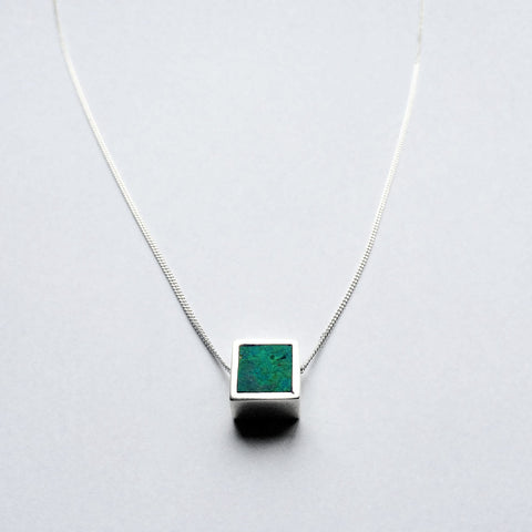Mini Two Faced Square Pendant - Turquoise & Marble