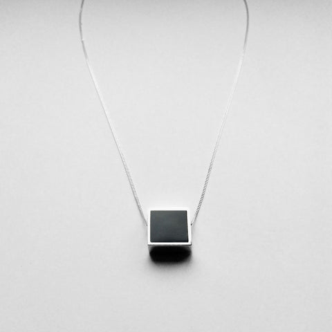 Large Two Faced Square Pendant - Onyx & Marble