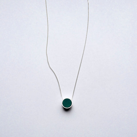Mini Two Faced Round Pendant - Turquoise & Marble