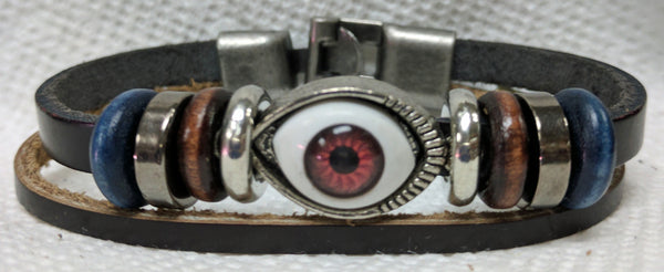 Evil Eye Leather Cuff Bracelet