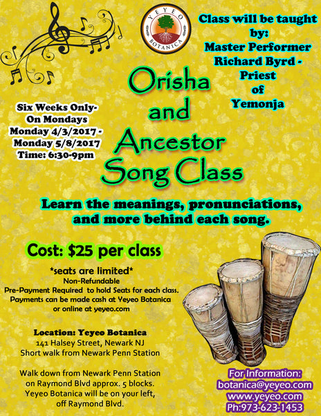 Orisha & Ancestor Song Class-6 Week Workshop