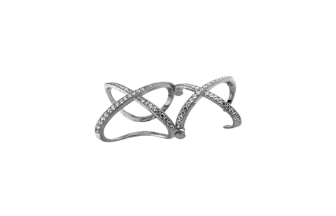 Sterling Silver Double X Micro Pave Ring