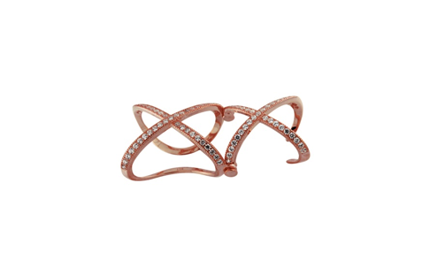 Rose Gold Plated Sterling Silver Double X Micro Pave Ring